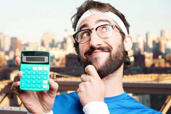 Mathematics - funny guy with calculator