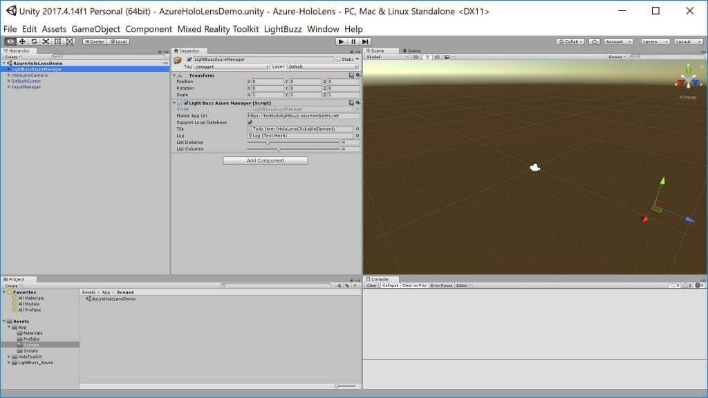 Azure HoloLens – Unity Editor