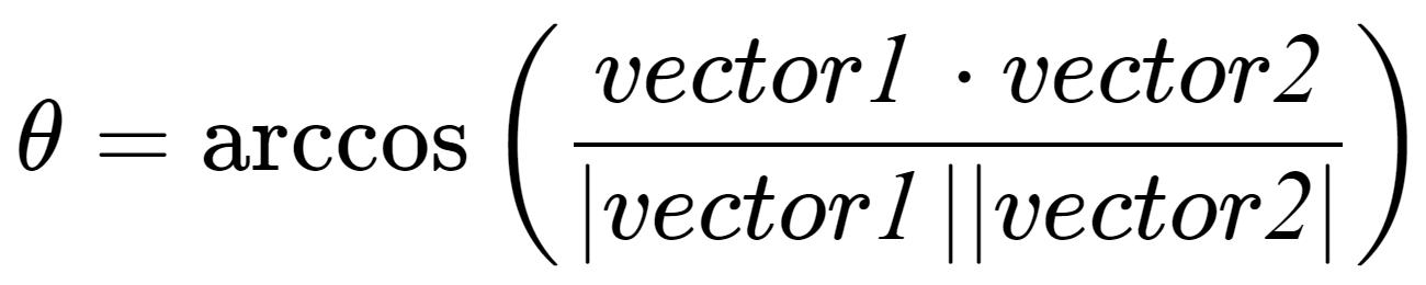 Angle Formula – 2 Vectors 3D