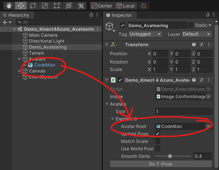 Azure Kinect Avateering – Avatar in Unity Editor