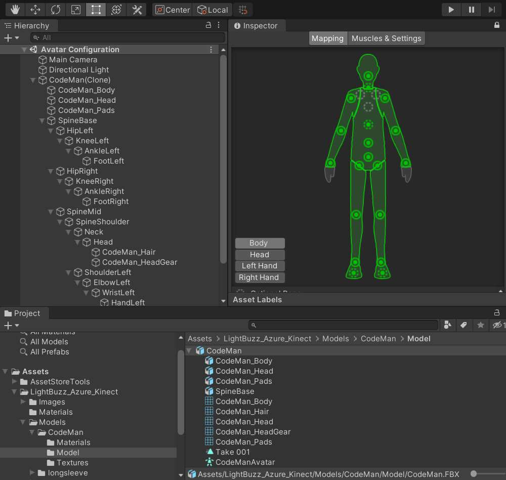 Azure Kinect Avateering Unity3D model joint bone structure
