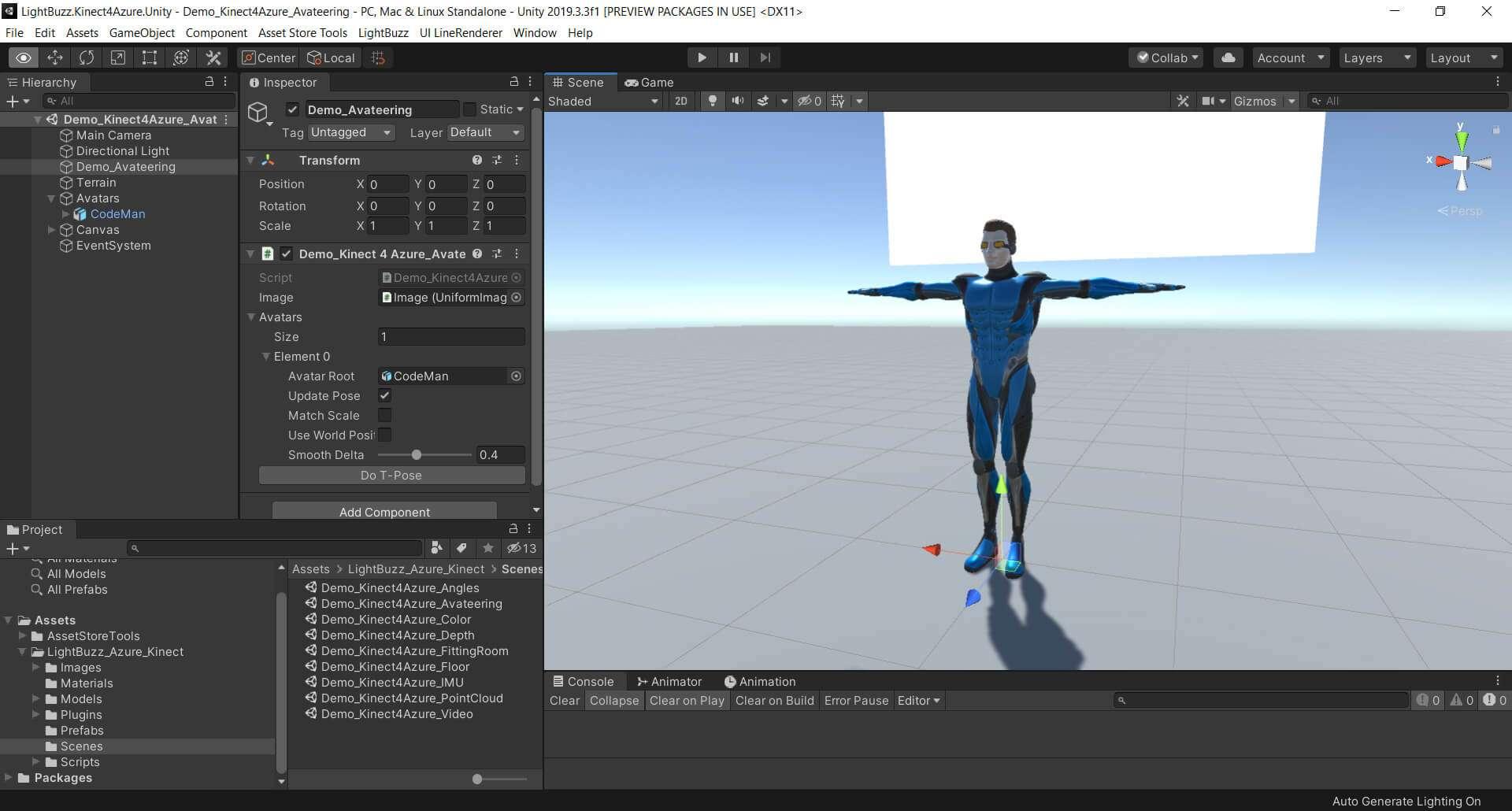 Azure Kinect Avateering Unity3D scene